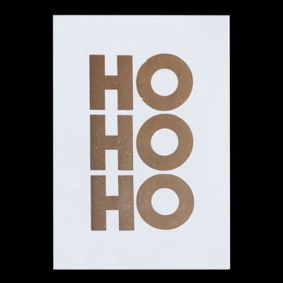 Ho Ho Ho, zlatý - Pressink Letterpress / pohľadnica