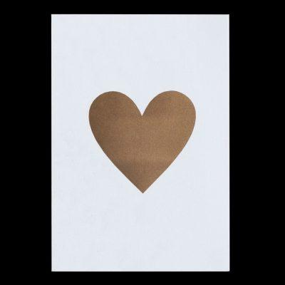 Srdce, zlaté - Pressink Letterpress / pohľadnica