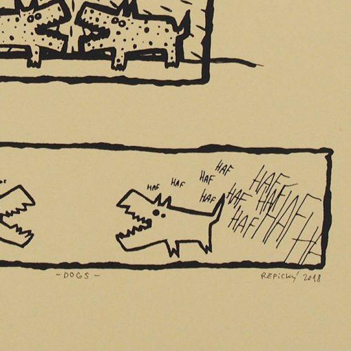 Dogs - Radoslav Repický, 25x19 cm / sieťotlač grafika