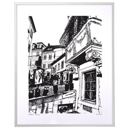 Bratislava Beblavého - Tlatchene, 50 x 40 cm / linorytová grafika
