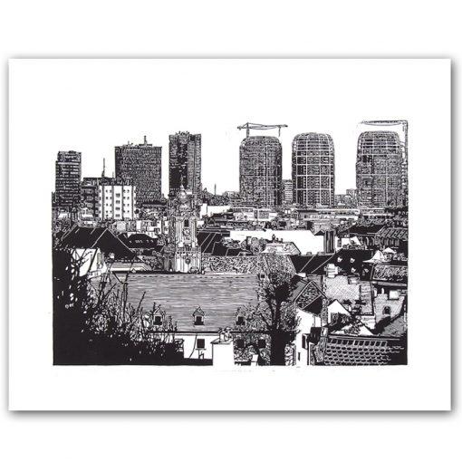 Bratislava nová panoráma - Tlatchene, 50 x 40 cm / linorytová grafika