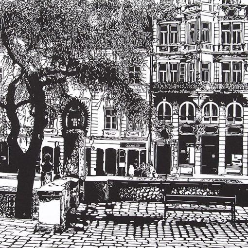 Bratislava Panská - Tlatchene, 50 x 40 cm / linorytová grafika