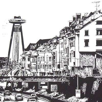 Bratislava Staromestská - Tlatchene, 50 x 40 cm / linorytová grafika