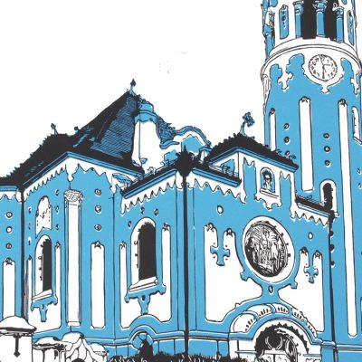 Bratislava Modrý kostolík - Tlatchene, 50 x 40 cm / linorytová grafika