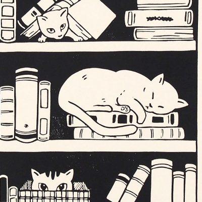 Zuzana Milánová - Mačky v knižnici, 30x21 / linoryt grafika