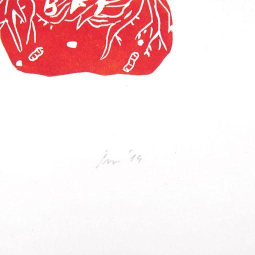 Lesné priateľstvá - Zuzana Šebelová / linoryt grafika