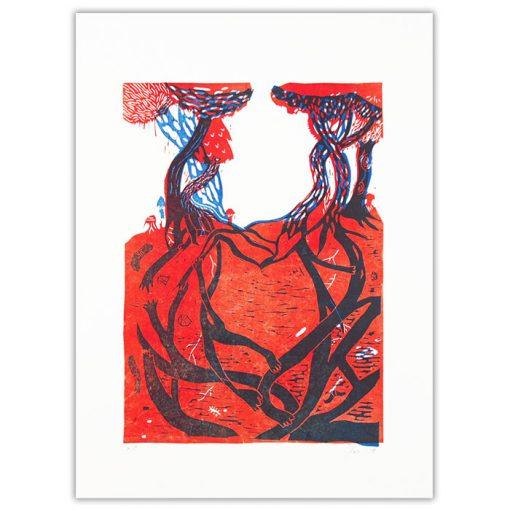 Lesné spoločenstvo - Zuzana Šebelová / linoryt grafika