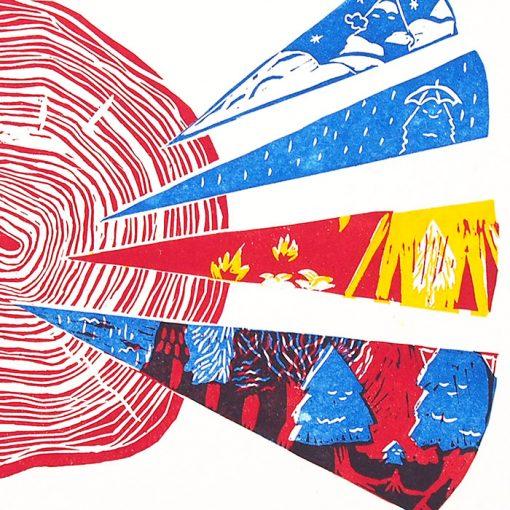 Letokruhy - Zuzana Šebelová / linoryt grafika