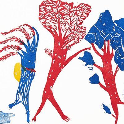 Pionierske stromy - Zuzana Šebelová / linoryt grafika