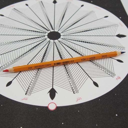 Lunárny kalendár - Mesačnica / risografika + ceruzka na vyfarbovanie