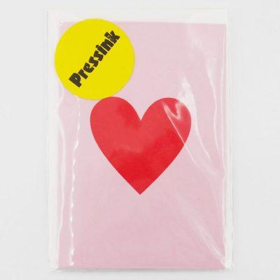 Srdce, červené na ružovom - Pressink Letterpress / pohľadnica