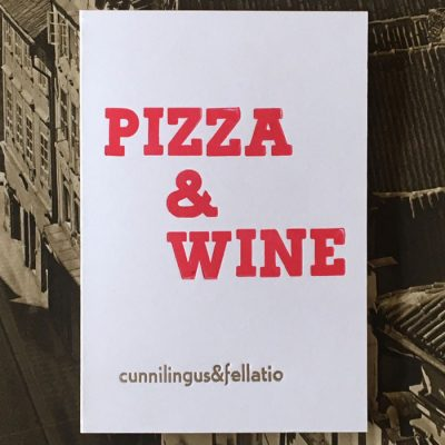 Pizza & Wine - letterpress - Noistypo / pohľadnica