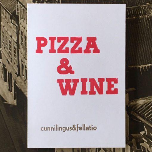 Pizza & Wine - letterpress - Noistypo / pohľadnica