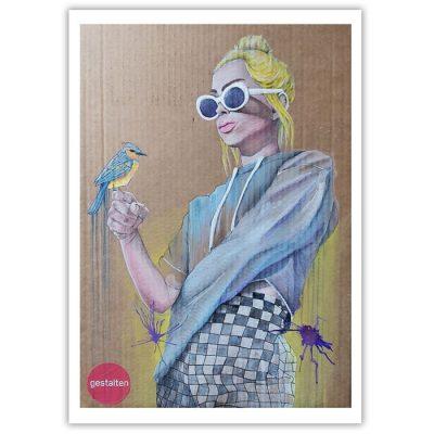 Girl ith a bird - Parxant, A4 / grafika