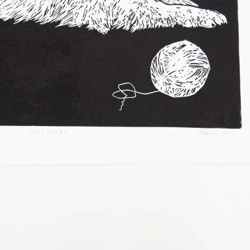 Zuzana Milánová - Biela mačka, 26x35 / linoryt grafika