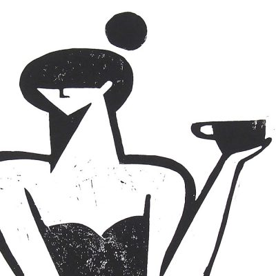 My cup of coffe - Žužu Gálová / linorytová grafika
