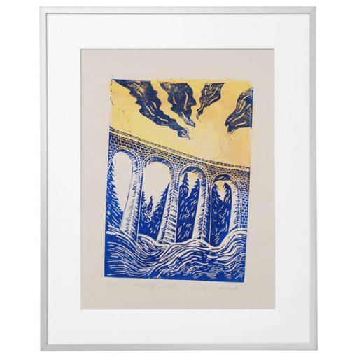 Chmarošský viadukt, béžový #3 - Petra Kováčová / linorytová grafika
