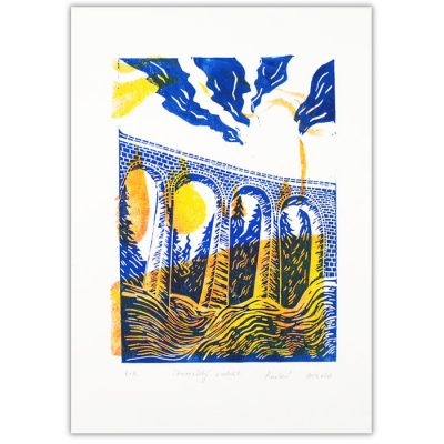 Chmarošský viadukt, biely #10 - Petra Kováčová / linorytová grafika