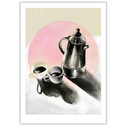 Morning rituals, pink - Petra Kováčová / grafika