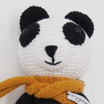 Háčkovaná Panda, bielo čierna / detská hračka