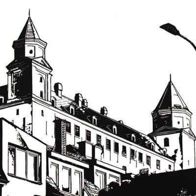 Bratislavský hrad - Tlatchene, 50 x 40 cm / linorytová grafika