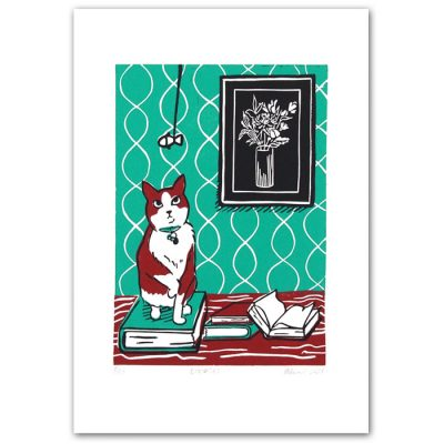 Zuzana Milánová - Bookcat, 30x21 / linoryt grafika