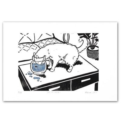 Zuzana Milánová - Cat of Crime, 30x21 / linoryt grafika