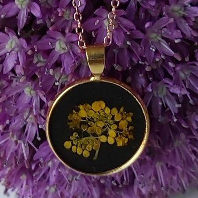 Gold meadow - kruh / živicový prívesok