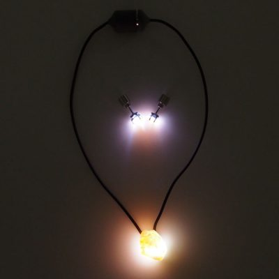 Slnečný kameň SET - Firefly / svetelný prívesok + náušnice