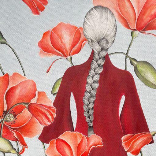 Poppy land - Katarína Branišová, 40x50 cm / kresba v ráme