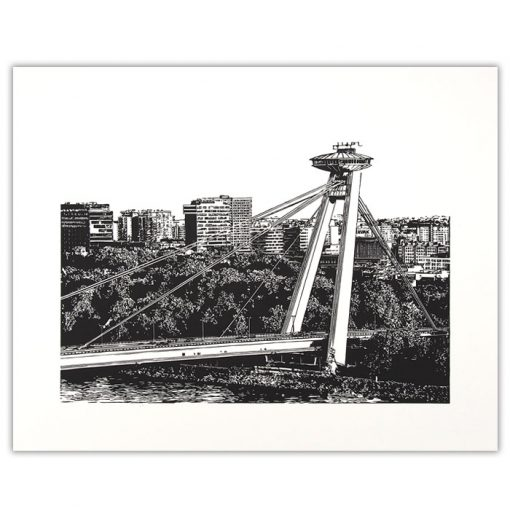 Nový most - Tlatchene, 50 x 40 cm / linorytová grafika