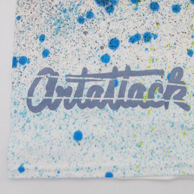 Biele Streetart tričko ArtAttack, zelená+modrá