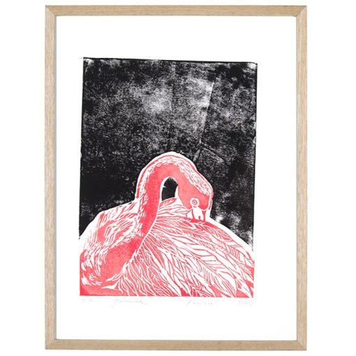 Plameniak - Petra Kováčová, ružový+čierna / grafika
