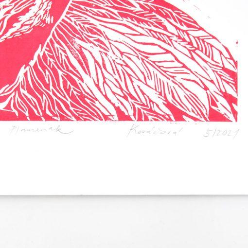 Plameniak - Petra Kováčová, ružový+zelené listy / grafika