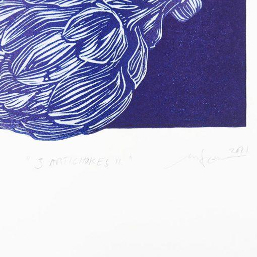 3 Artichokes II. - Martina Rötlingová / linorytová grafika 36 x 25 cm