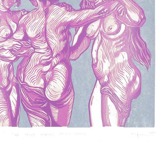 3 grácie #1 - Martina Rötlingová / linorytová grafika 36 x 50 cm