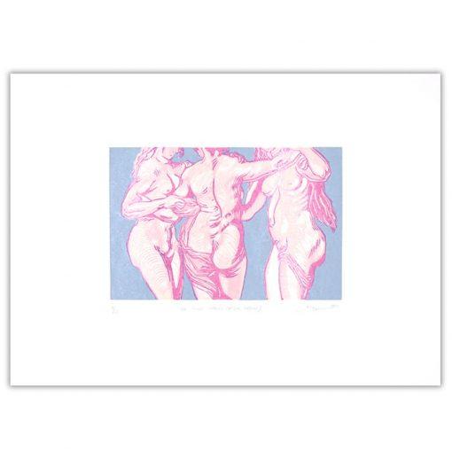 3 grácie #2 - Martina Rötlingová / linorytová grafika 36 x 50 cm