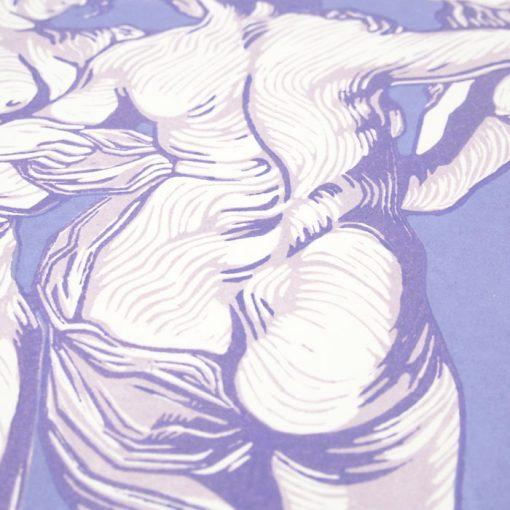 3 grácie #3 - Martina Rötlingová / linorytová grafika 36 x 50 cm