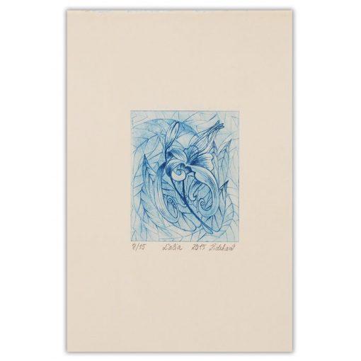Ľalia, modrá - Marianna Žideková / hĺbkotlačová grafika 28 x 18 cm