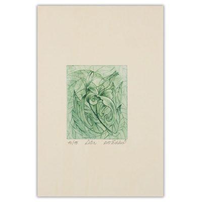 Ľalia, zelená - Marianna Žideková / hĺbkotlačová grafika 28 x 18 cm