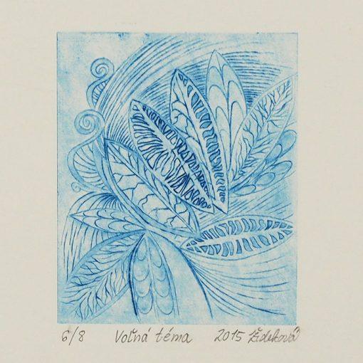 Voľná téma - Marianna Žideková / hĺbkotlačová grafika 28 x 18 cm