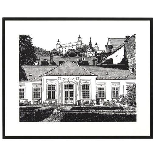 Lisztova záhrada - Tlatchene, 50 x 40 cm / linorytová grafika